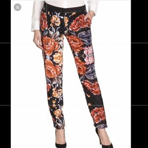 Graylin | Paloma tapestry silk leather pants sz M